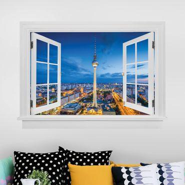 3D Wandtattoo - Offenes Fenster Berlin Skyline bei Nacht mit Fernsehturm