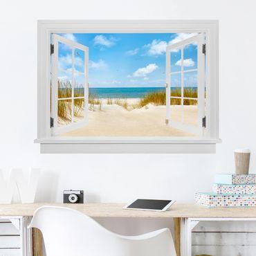 3D Wandtattoo - Offenes Fenster Strand an der Nordsee