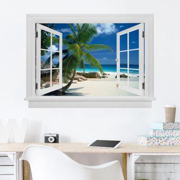 3D Wandtattoo - Offenes Fenster Traumstrand