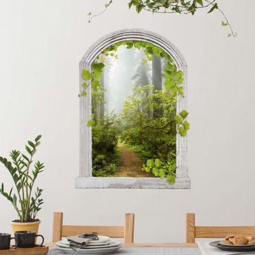 3D Wandtattoo - Steinbogen Nebliger Waldpfad mit Ranken