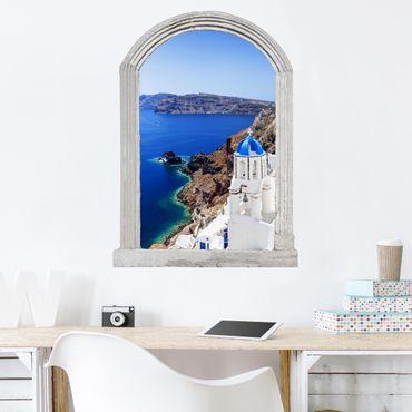 3D Wandtattoo - Steinbogen View Over Santorini