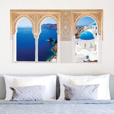 3D Wandtattoo - Verzierte Fenster View Over Santorini