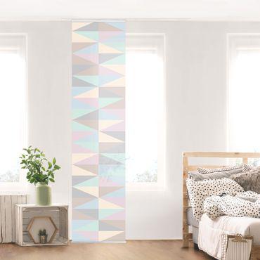 Schiebegardinen Set - Dreiecke in Pastellfarben - Flächenvorhänge