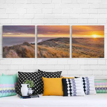 Leinwandbild 3-teilig - Sonnenaufgang am Strand auf Sylt - Quadrate 1:1