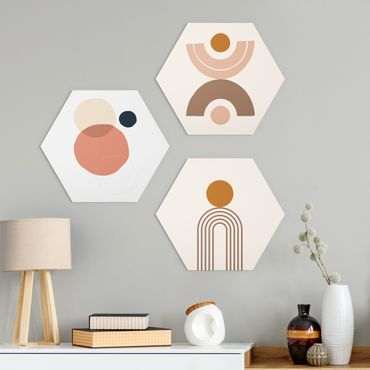 Hexagon Bild Alu-Dibond 3-teilig - Line Art Abstrakte Formen Set II