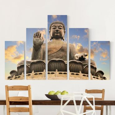 Leinwandbild 5-teilig - Großer Buddha