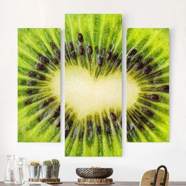 Leinwandbild 3-teilig - Kiwi Heart - Galerie Triptychon