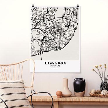 Poster - Stadtplan Lissabon - Klassik - Hochformat 3:4