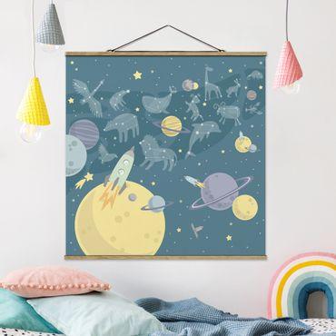 Stoffbild mit Posterleisten - Planeten mit Sternzeichen und Raketen - Quadrat 1:1