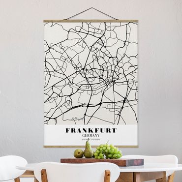 Stoffbild mit Posterleisten - Stadtplan Frankfurt - Klassik - Hochformat 4:3