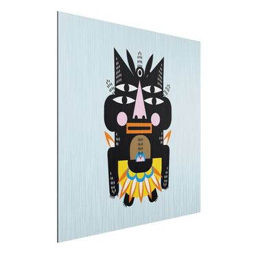 Aluminium Print gebürstet - Collage Ethno Monster - Häuptling - Quadrat 1:1