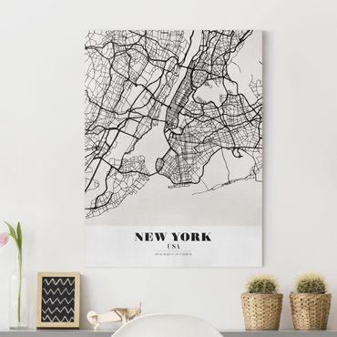 Leinwandbild - Stadtplan New York - Klassik - Hochformat 4:3