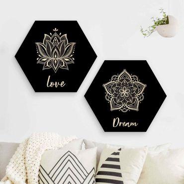 Hexagon Bild Holz 2-teilig - Mandala Dream Love Set Schwarz