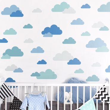 Wandtattoo mehrfarbig - 40 Wolken Blau Grau Petrol Set