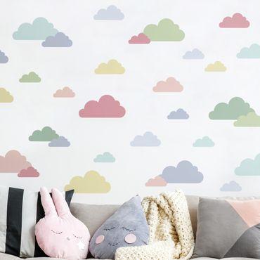 Wandtattoo mehrfarbig - 40 Wolken Pastell Set