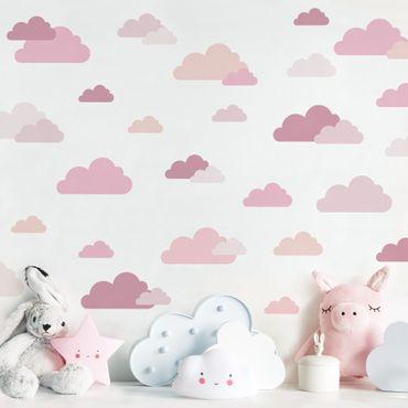 Wandtattoo mehrfarbig - 40 Wolken Rosa Set