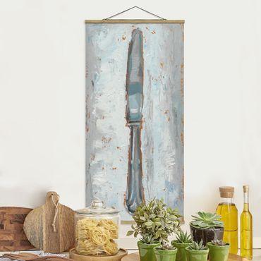 Stoffbild mit Posterleisten - Impressionistisches Besteck - Messer - Hochformat 2:1