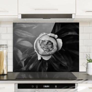 Spritzschutz Glas - Pfingstrosenblüte vor Blättern Schwarz Weiß - Querformat 3:4