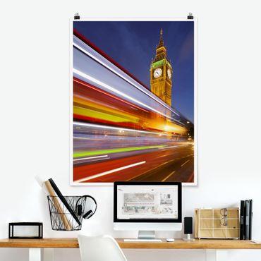 Poster - Verkehr In London am Big Ben bei Nacht - Hochformat 3:4