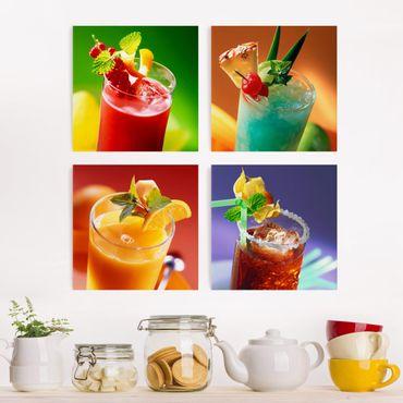Leinwandbild 4-teilig - Bunte Cocktails