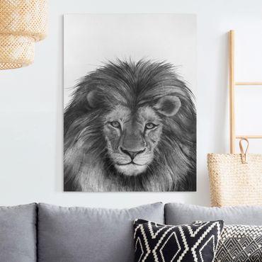 Leinwandbild - Illustration Löwe Schwarz Weiß Malerei - Hochformat 4:3