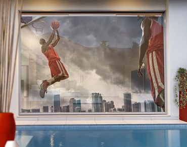 Fensterfolie - XXL Fensterbild Thunder Storm Slam Dunk - Fenster Sichtschutz