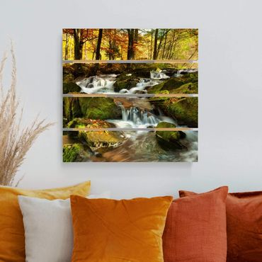 Holzbild - Wasserfall herbstlicher Wald - Quadrat 1:1