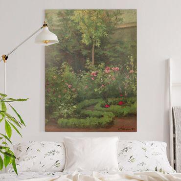 Leinwandbild - Camille Pissarro - Ein Rosengarten - Hochformat 4:3