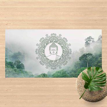 Vinyl-Teppich - Buddha Mandala im Nebel - Querformat 2:1