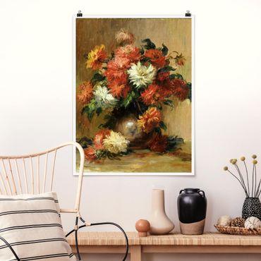 Poster - Auguste Renoir - Stilleben mit Dahlien - Hochformat 3:4