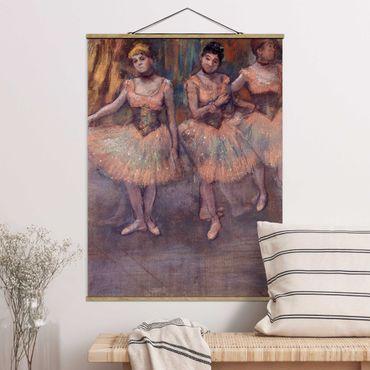 Stoffbild mit Posterleisten - Edgar Degas - Tänzerinnen vor Exercice - Hochformat 3:4