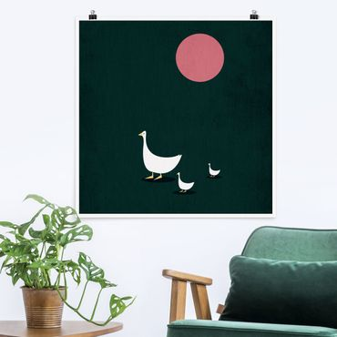 Poster - Familie Gans auf Wanderschaft - Quadrat 1:1