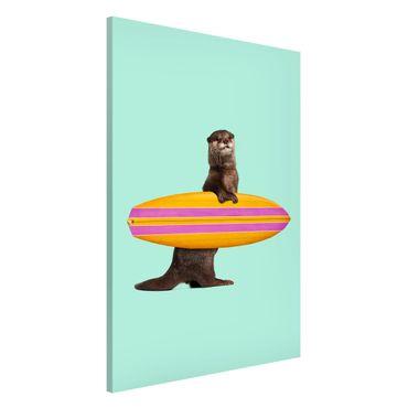 Magnettafel - Jonas Loose - Otter mit Surfbrett - Memoboard Hochformat 3:2