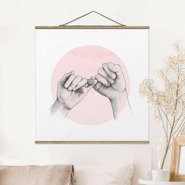 Stoffbild mit Posterleisten - Laura Graves - Illustration Hände Freundschaft Kreis Rosa Weiß - Quadrat 1:1