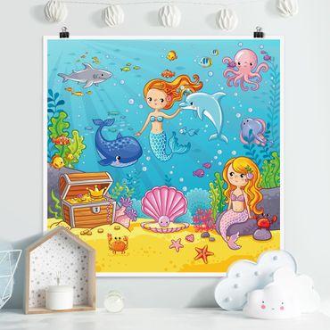 Poster - Meerjungfrau - Unterwasserwelt - Quadrat 1:1