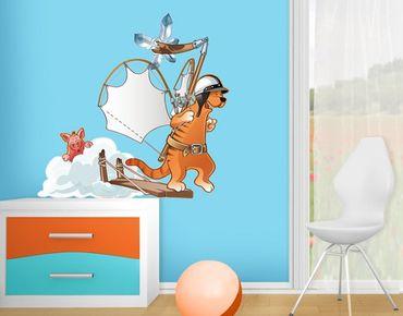 Wandtattoo Fliegender Bauernhof Katzenflugmaschine