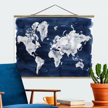 Stoffbild mit Posterleisten - Wasser-Weltkarte dunkel - Querformat 3:4