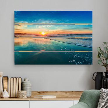 Holzbild - Romantischer Sonnenuntergang am Meer - Querformat 2:3