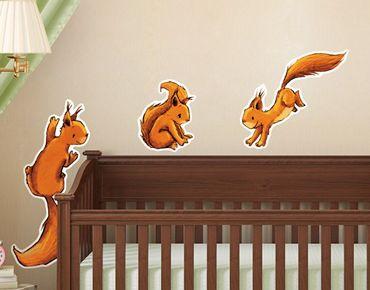 Wandtattoo Babyzimmer Drei Einhörnchen