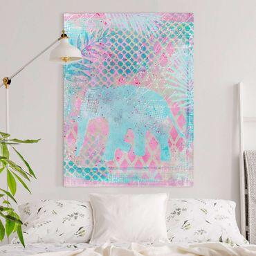 Leinwandbild - Bunte Collage - Elefant in Blau und Rosa - Hochformat 4:3