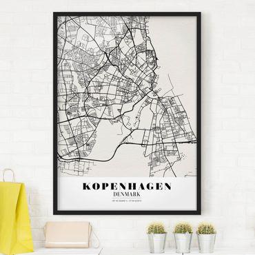 Bild mit Rahmen - Stadtplan Kopenhagen - Klassik - Hochformat 3:4