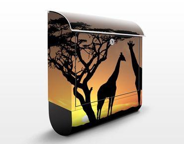 Briefkasten mit Zeitungsfach - African Sunset - Hausbriefkasten Orange