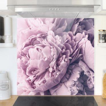Spritzschutz Glas - Lila Pfingstrosenblüten - Quadrat 1:1