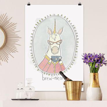Poster - Koffeinhaltiges Einhorn - Hochformat 3:2
