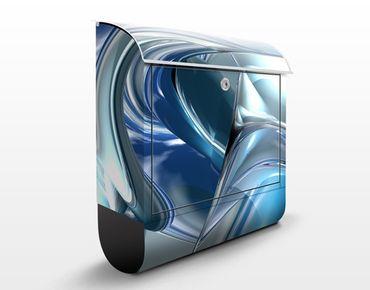 Briefkasten mit Zeitungsfach - Cold Steel - Modern Blau