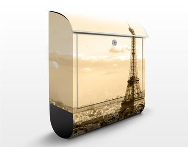 Briefkasten Vintage - I Love Paris - Briefkasten Beige mit Zeitungsrolle