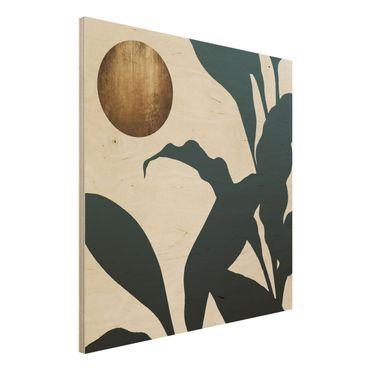 Holzbild - Goldener Mond im Dschungel - Quadrat 1:1