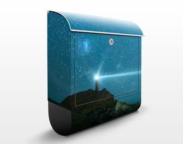 Briefkasten mit Zeitungsfach - Leuchtturm - Hausbriefkasten Blau