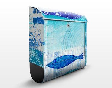 Briefkasten mit Zeitungsfach - Fish in the blue - Modern Blau
