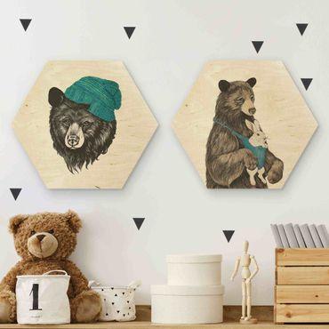 Hexagon Bild Holz 2-teilig - Laura Graves - Bären Paar
